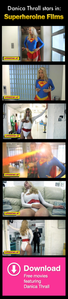Screenshots of Danica Thrall dressed up as Supergirl and Power Girl